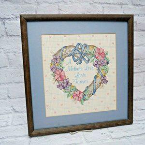 Vintage Framed Completed Floral Heart Cross Stitch